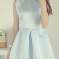 Sleeveless Solid Color Back Bow Mini Dress