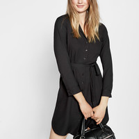 Tie Waist Midi Shirt Dress