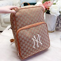 GUCCI & NY Fashion New Embroidery More Letter Travel Leisure Book Bag Backpack Bag Handbag