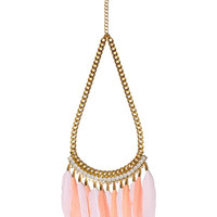 Pink Feathers Pendant Necklace