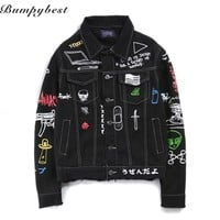 Trendy 2017 Jeans Jacket Men Women Streets DOODLE Denim Coat Male Motorbike Jean Coat Jackets Asian Size AT_94_13