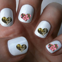 Camouflage Heart Nail Art Decals Nail Stickers