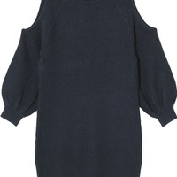 Shoulder Cut Out Sweater Dress in Navy