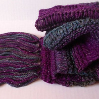 Scarf Knit Drop Stitch with Fringe, Stripe, Purple, Teal, Olive, with Metallic Accent
