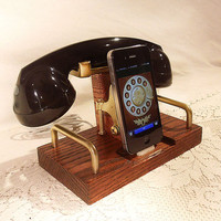 iPhone - iPod Dock Phone - Charger and Sync Station - Bluetooth Headset - Oak - Wireless Headset