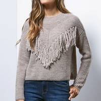 Me To We Fringe Mock Neck Pullover Sweater - Womens Sweater - White