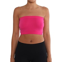 Women's Strapless/Seamless Tube Top Bandeau - Fuchsia