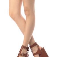Tan Faux Leather Ankle Strap Wedges