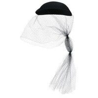 Gucci NEW Black Silk Wool Beret Wedding Evening Cocktail Veil Hat