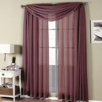 Abri Eggplant Rod Pocket Crushed Sheer Curtain Panel