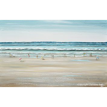"""""""Seas the Day"""" ORIGINAL Art Coastal Abstract Painting Textured Ocean Waves Figurative Beach Goers Blue White 48x30"""""""
