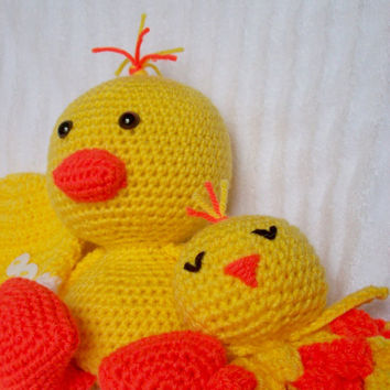 Crochet Animal, Duckling Stuffed Animal and Duck Lovie Blanket, Lovey Blanket, Security Blanket Set, Duck Nursery Set (Made to Order)