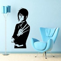 WALL VIINYL STICKER DECAL ART MURAL ANIME MANGA GUY WITH WEAPON d1595