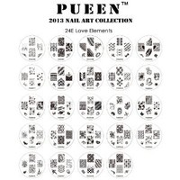 PUEEN Nail Art Stamp Collection Set 24E - LOVE ELEMENTS - NEW Unique Set of 24 Nailart Polish Stamping Manicure Image Plates Accessories Kit (Totaling 144 Images) with BONUS Storage Case-BH000018