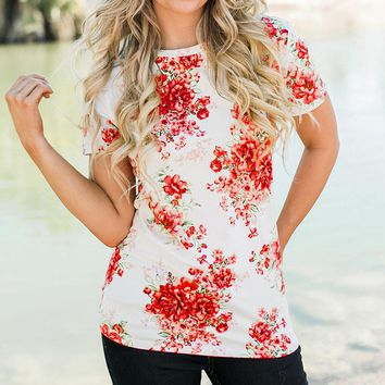 Floral Print High Neck Classy T