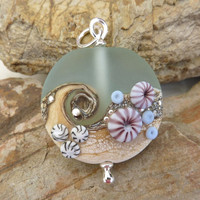 Frosted Beach focal bead in palest blue ... handmade glass by Lush Lampwork .. UK SRA British Lampwork