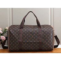 LV vintage printed plaid pattern large handbag