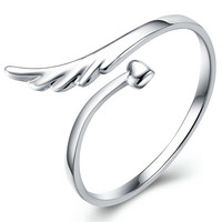 Silver Plated Angel Wings Open Ring
