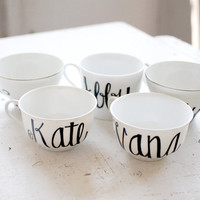 custom calligraphy first name recycled tea cups and mugs - bridesmaids, flower girls, birthdays - black and white