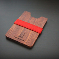 Limited Bubinga edition! Slim & Light wallet / Red X Bubinga Armoury M wallet, minimalist wallet, small wood wallet, women and men's wallet