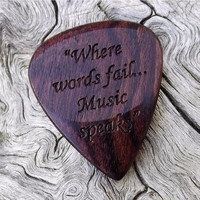 Handmade Premium Laser Engraved Wood Guitar Pick - Brazilian Kingwood - Actual Pick Shown - No Stock Photos