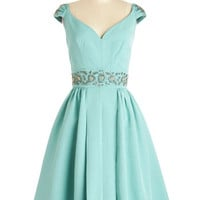 Trashy Diva Long Cap Sleeves Fit & Flare Shindig by the Skyline Dress in Aqua