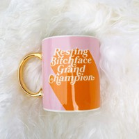 Resting Bitch Face Grand Champion Mug in Pink and Orange