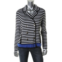 Jones New York Womens Striped Long Sleeves Cardigan Sweater