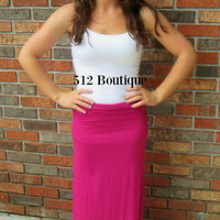 Basic Maxi Skirt - Fuchsia