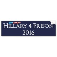 Hillary Clinton 4 Prison 2016 Car Bumper Sticker