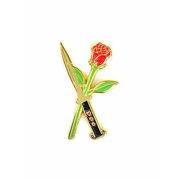 Rose and Switchblade Pin