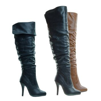 Focus33 Black High heel Stretch Wrinkled Slouchy Dress Boots. Over-The-Knee Thigh High