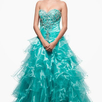 Kari Chang KC35 Aqua Organza Ballgown 2015 Prom Dress