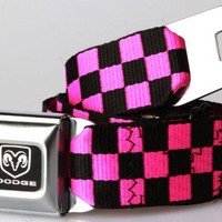 Buckle-Down Dodge Ram Pink and Black Checkered Belt
