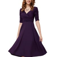Cocktail Dresses Ever Pretty HE03632 Short Dresses Women 3/4 Sleeves Hot Sall V Neck High Stretch Plus Size Cocktail Dresses