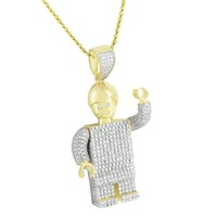 Robot Lego Pendant Gold On Sterling Silver Moon Cut Necklace