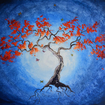 The Healing Light, Red Coral Tree with butterflies Original Oil Painting, chakra, energy, yoga