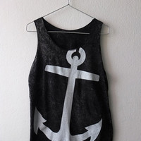 Anchor navy pirate vintage rocker fashion punk goth Stone Washed Tank Top Vest M