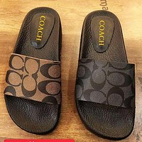 COACH Slippers CC Sandals Double Letters Print Shoes Black Khaki