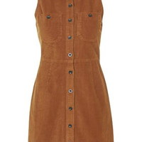 Cord Button Front Dress - Camel
