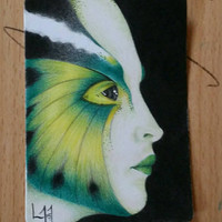 ACEO Original drawing - Butterfly Girl #3 - Coloured pencil drawing