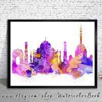 Delhi City Skyline, Art Print, Delhi poster, Delhi City watercolor, Delhi  watercolor, watercolor poster, map poster, City watercolor,