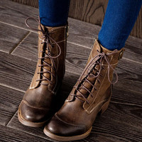 Womens Handmade Classic Lace Up Leather Martin Boots,Ankle Boots,Fall/Winter Boots,Ladies Leather Boots,Brown Boots