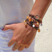 Brown Leather and Agate Bracelet / Necklace