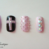 3D Bling Fake Nail Set  Black Pink Blue and by CuteberryBoutique