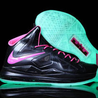 "Nike Lebron X 10 Glow In the Dark ""Floridians"" Black/Pink Mens Nba shoes"