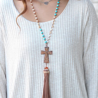 Bling Cross + Turquoise Chain Tassel Necklace