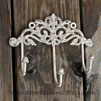 Wall Metal Hooks /Ivory /Painted Shabby Chic Decor /Painted Ornate Hanger /Distressed Bathroom Fixture /Bedroom /Nursery