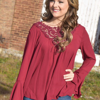 wine about it maroon lace tunic top