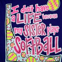 SALE Southern Chics Funny Softball Sister Sweet Girlie Bright T Shirt